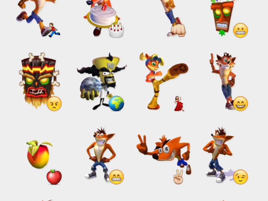 Crash Bandicoot stickers set