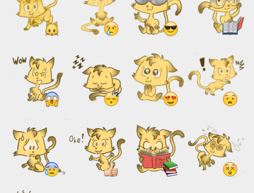 Fossy the Cat sticker set