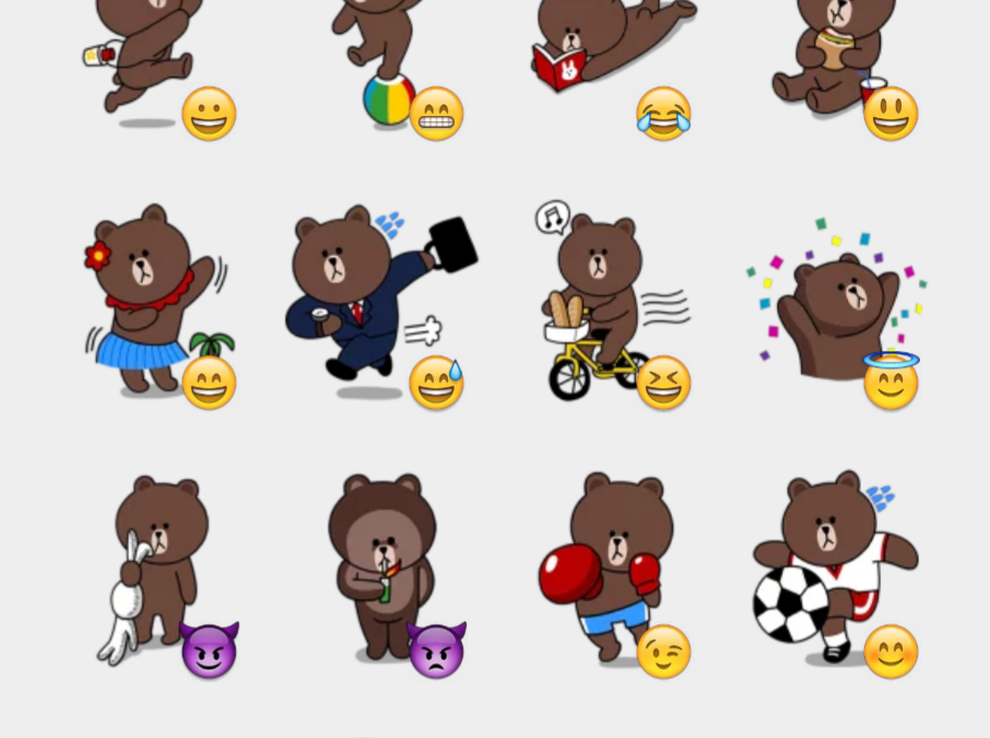 Line Brown & Cony stickers set