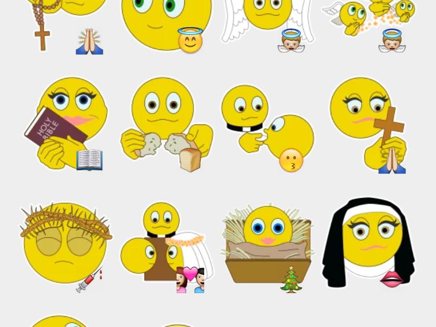 Christian emojis stickers set