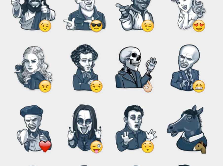 Famous Characters stickers set