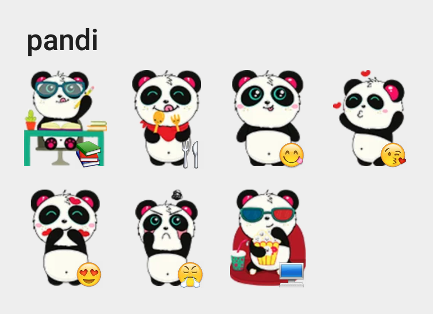 Pandi stickers set