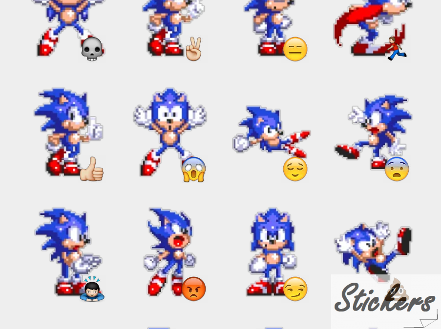 Sonic from Sonic 3 stickers Telegram sticker set