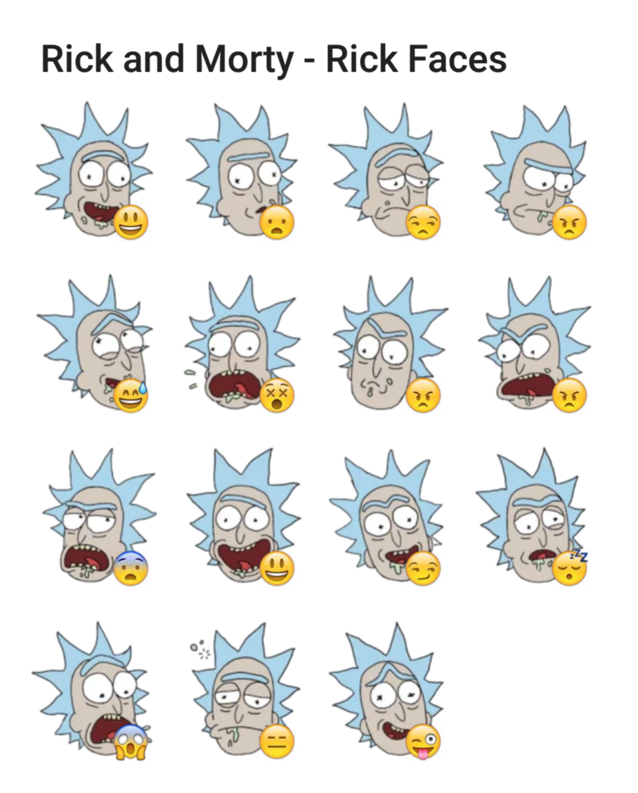 rick and morty rick faces telegram sticker set stickers