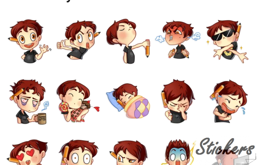 Artist boy Telegram sticker set