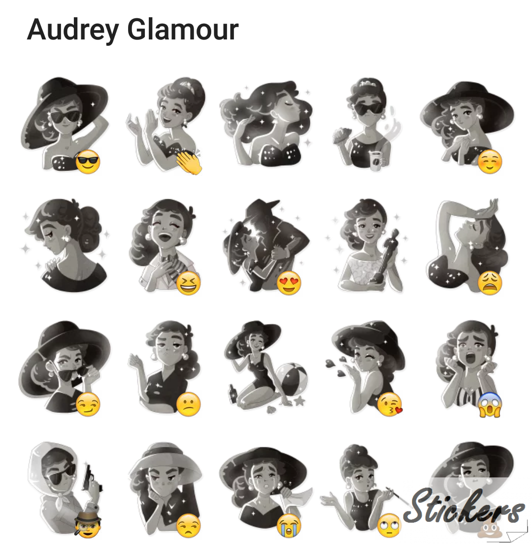 Audrey Glamour Telegram sticker set