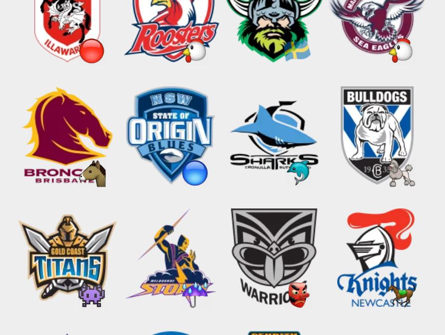 Australian NRL team logo stickers set