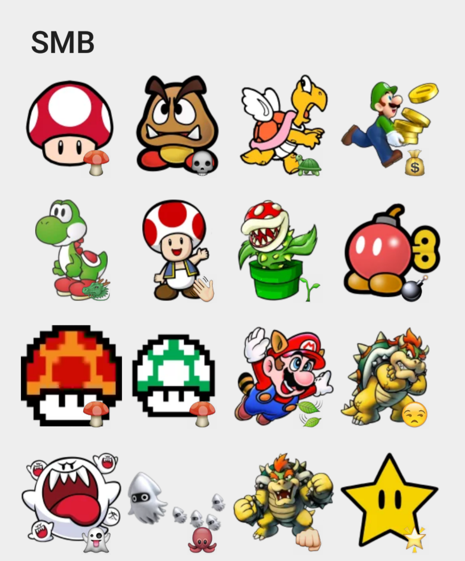 Super mario bros sticker set
