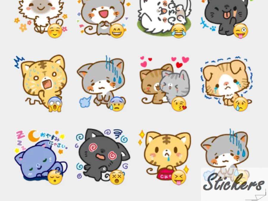 Meow Town Facebook Telegram sticker set