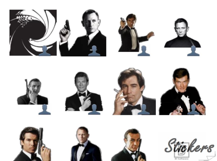 007 JB Telegram sticker set