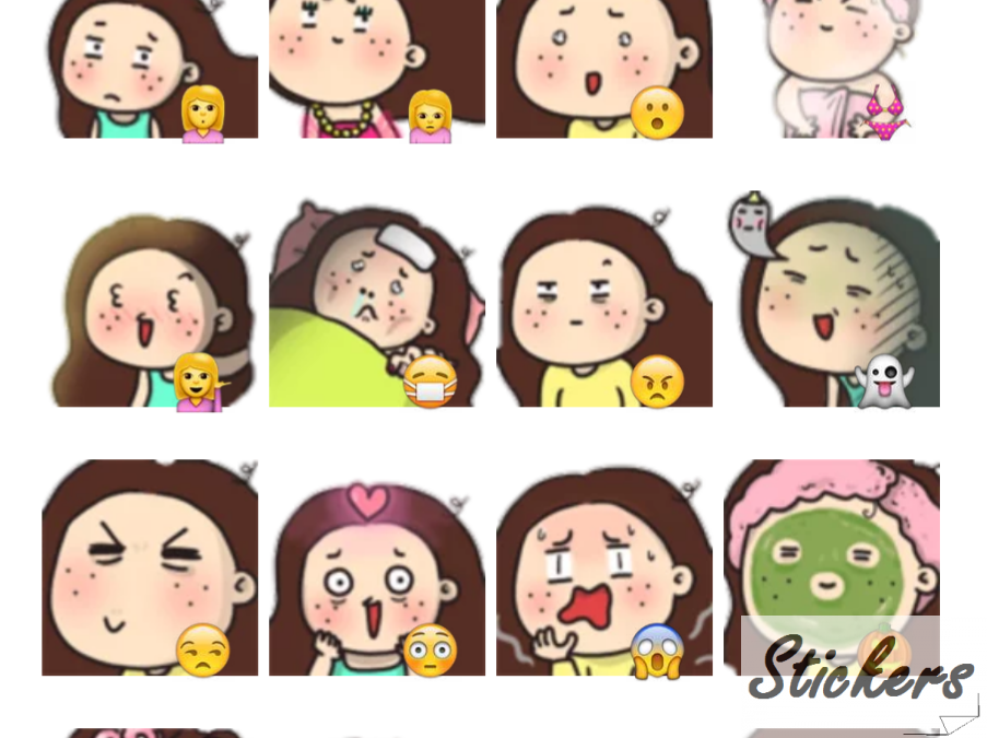 Freckles Face Girl Telegram sticker set