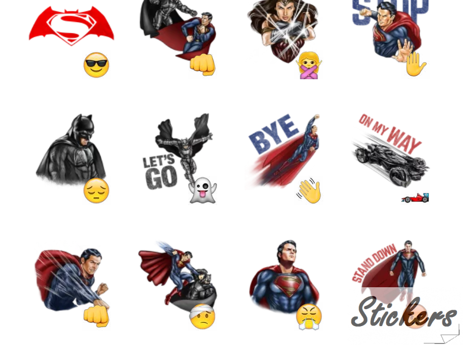 Batman v Superman: Dawn of Justice Telegram sticker set