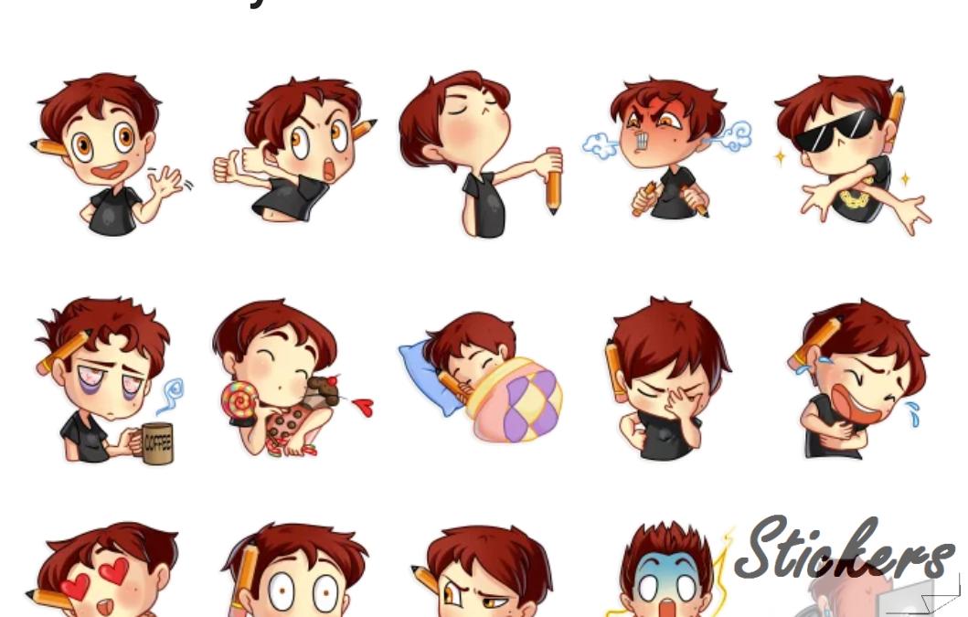 Artist boy Telegram sticker set